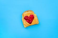 Peanut Butter Jelly Heart Sandwich