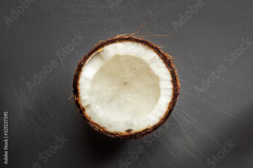 Fototapeta close up of organic coconut in studio obraz na płótnie