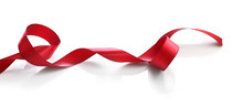 Shiny Red Satin Ribbon Isolate...