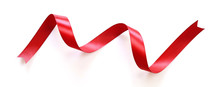Shiny Red Satin Ribbon Isolated On White Background