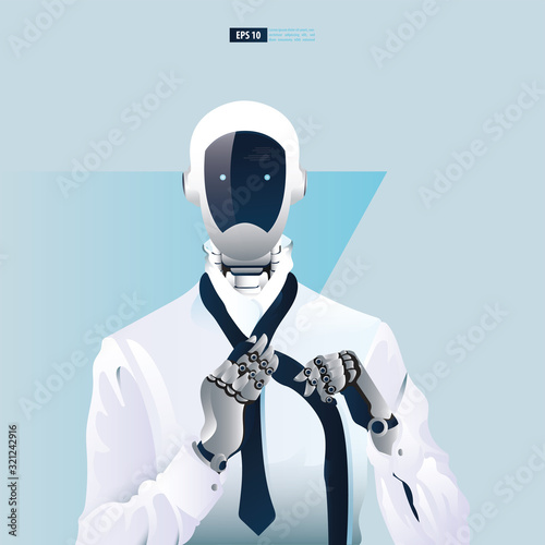 Futuristic humanoid business people with Artificial Intelligence technology concept Wallpaper Mural