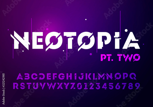 Vector illustration abstract technology font with techno effect Poster Mural XXL