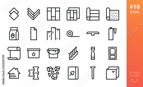 Tela Building materials icons set