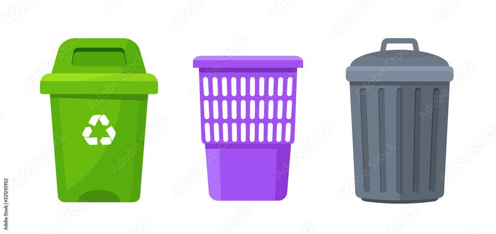 Fototapeta Trash container bin icon. Garbage can metal recycle basket box for trash waste symbol
