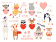 Big Valentines day set with cute animals, hearts, quotes. Isolated objects on white background. Hand drawn vector illustration. Scandinavian style flat design. Concept for children holiday print.