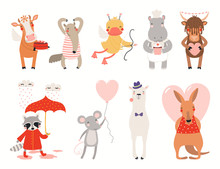Big Valentines Day Set With Cute Animals, Hearts, Cakes, Balloon. Isolated Objects On White Background. Hand Drawn Vector Illustration. Scandinavian Style Flat Design. Concept For Kids Holiday Print.