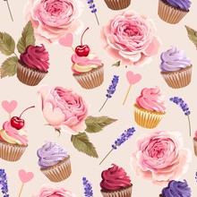 Vector Seamless Pattern With Cupcakes And Flowers