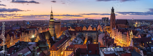 Wroclaw, Poland. Panoramic aerial cityscape at dusk
