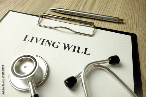 Living will directive with stethoscope and pen Canvas Print