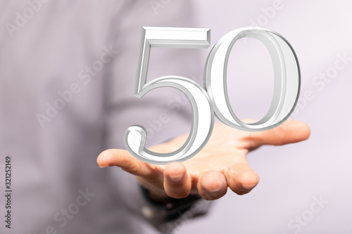 Fototapeta Template 3d  50 Years Anniversary Illustration. obraz