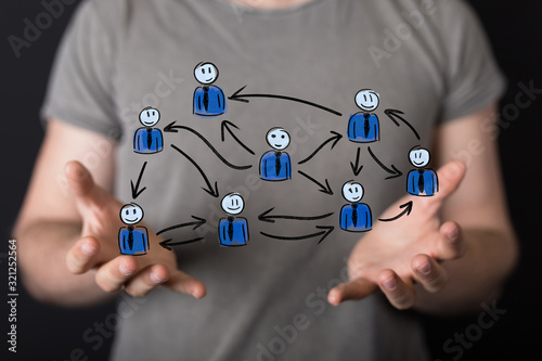 Fototapeta team work connection digital concept . obraz