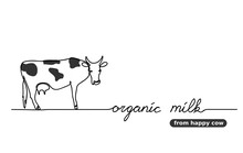 Organic Milk From Happy Cow. One Continuous Line Drawing Of Cow With Lettering Organic Milk.