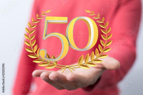 Fototapeta 50 years anniversary celebration logotype with elegant celebration. obraz