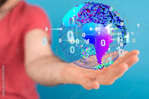 Fototapeta Global network and data exchanges over the world obraz