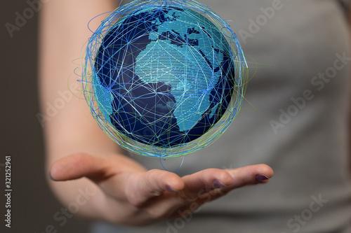 Fototapeta Holding Business World connection digital. obraz