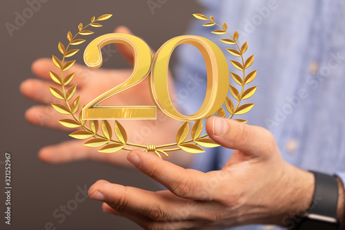 Fototapeta 20 Digital number Years Anniversary 3d background. obraz
