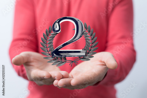 Fototapeta Two Anniversary 3d 1 Years or award. event party. obraz