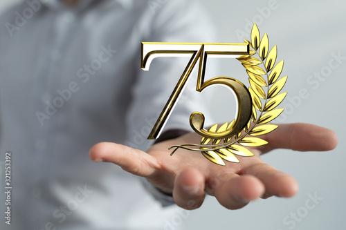 Fototapeta 75 years anniversary celebration logotype with elegant celebration. obraz