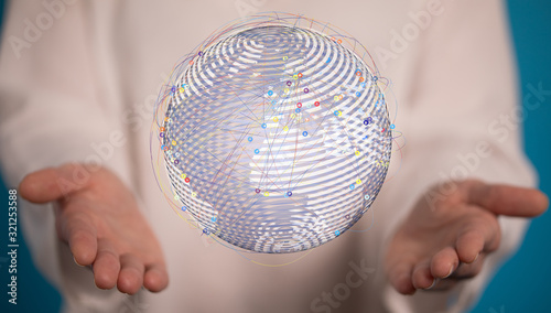 Fototapeta Human Hand Holding The World In Hands. obraz