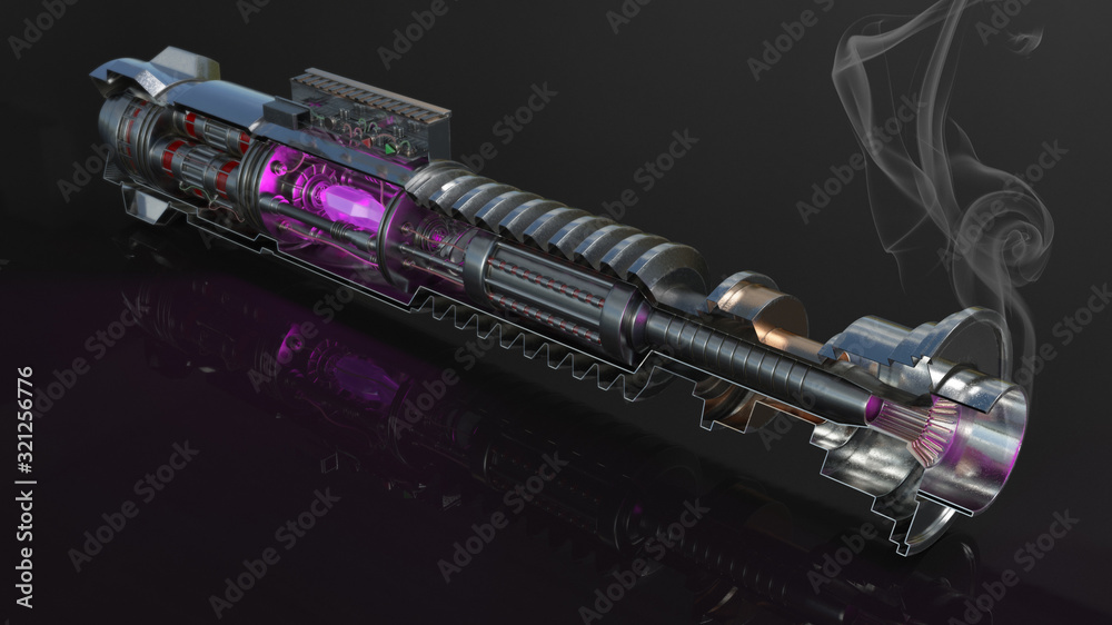 Fotografie, Obraz Luke Skywalker Lightsaber Inner 3D Illustration