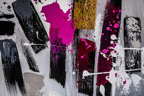 Valokuvatapetti Arrière plan abstrait traits et taches de peinture colorée