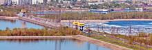 Top View Of The City Of Togliatti And The Zhigulevskaya Hydroelectric Dam.