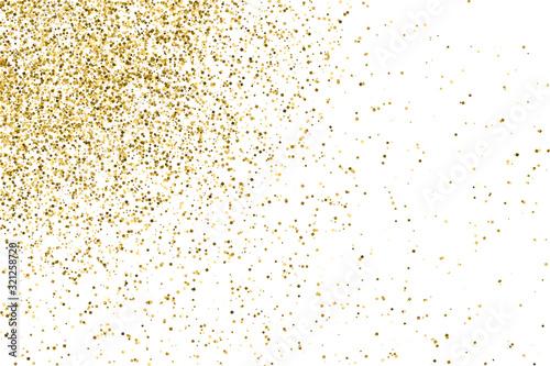 Fototapeta Gold Glitter Texture Isolated On White. Amber Particles Color. Celebratory Background. Golden Explosion Of Confetti. Vector Illustration, Eps 10. obraz na płótnie