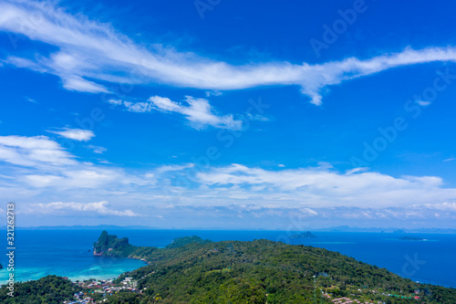 Aerial drone photo of iconic tropical beach and resorts of Phi Phi island, Thail Wallpaper Mural