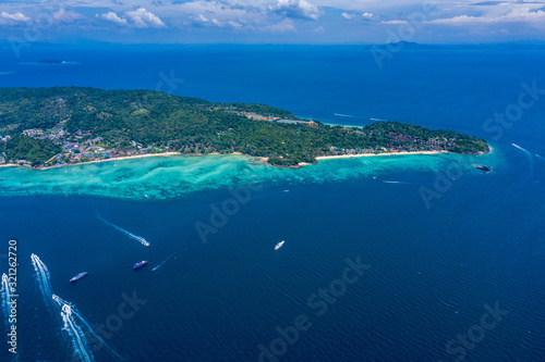Aerial drone photo of iconic tropical beach and resorts of Phi Phi island, Thail Canvas Print