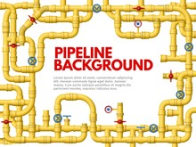 Industrial Yellow Pipeline. Pipeline Frame, Yellow Pipes For Gas Or Oil Vector Background Illustration. Banner Or Poster Design Template With Border Made Of Connected Conduits, Valves, Manometers.