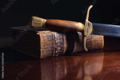 One Hundred Fifty Year Old Bible with Sword Slika na platnu