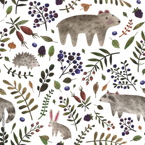 Seamless pattern with wild forest animals. Watercolor hand painted bear, raccoon, rabbit and different plants. Woodland animals background perfect for children's textiles, wrapping, cards, wallpaper