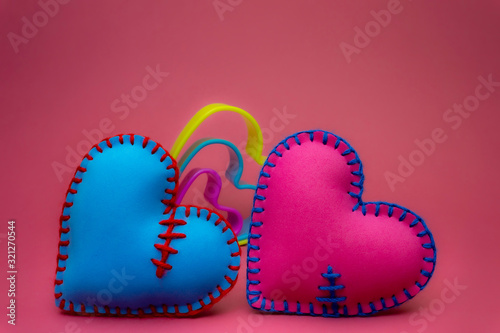 Romantic still life with colorful heart shapes