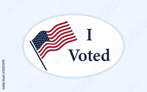 Valokuva I voted sticker with us american flag.