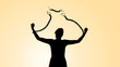 Leinwanddruck Bild Weibliche Silhouette  zerbricht eine Eisenkette undbefreit sich