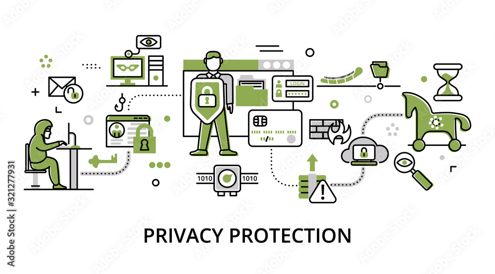 Concept of privacy protection, modern flat thin line design vector illustration