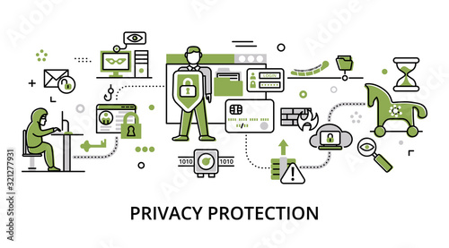 Fototapety, obrazy: Concept of privacy protection, modern flat thin line design vector illustration