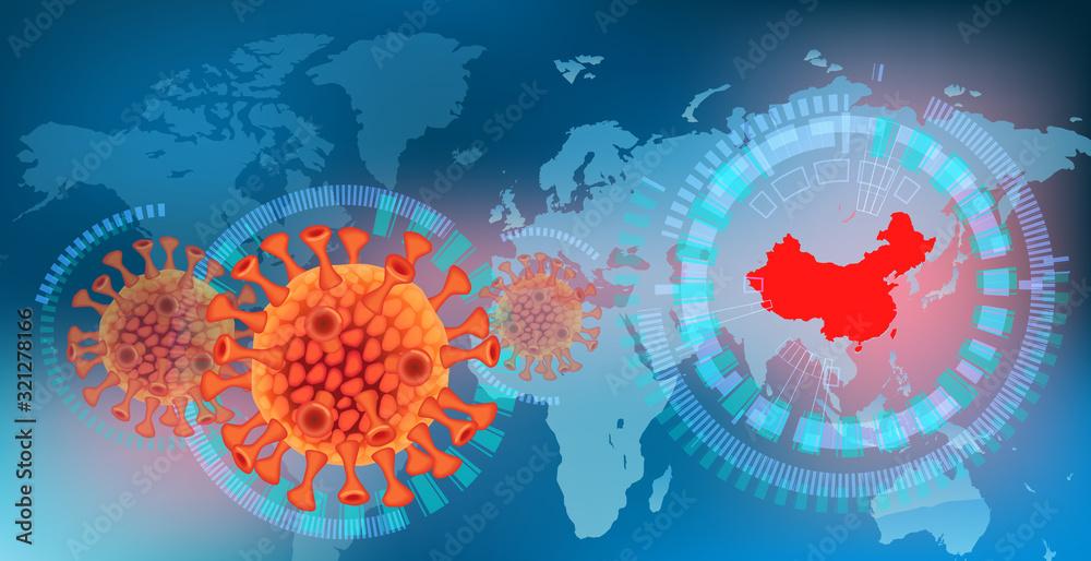 Fototapeta コロナウイルスと世界地図と中国
