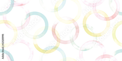 Watercolor geometric background. Seamless pattern.Vector. 水彩幾何学パターン	 - 321281998