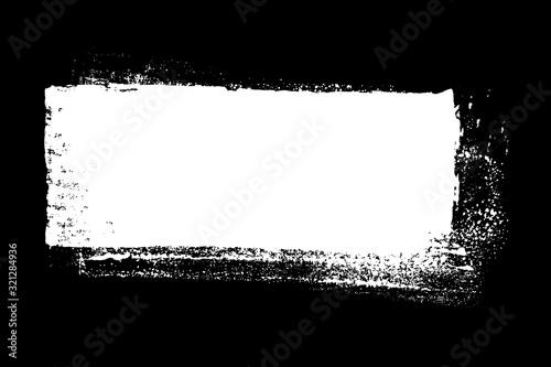 Obraz na plátně Schmutziger weißer Farbstreifen auf schwarzem Hintergrund