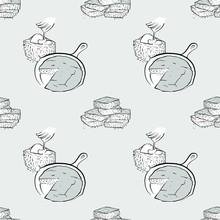 Cornbread Seamless Pattern Gre...