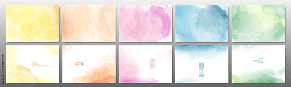 Fototapeta Set of pastel color watercolor background
