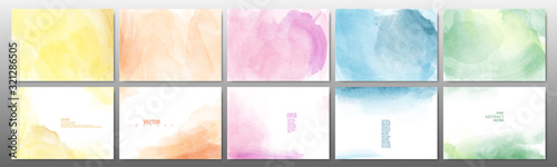 Fotografiet Set of pastel color watercolor background