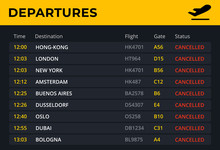 Departure Board With All Fligh...
