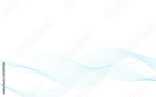 Blend abstract blue wave vector on white background illustration. Canvas Print