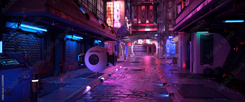 Fototapeta Bright neon night in a cyberpunk city. Photorealistic 3d illustration of the futuristic city. Empty street with blue neon lights.