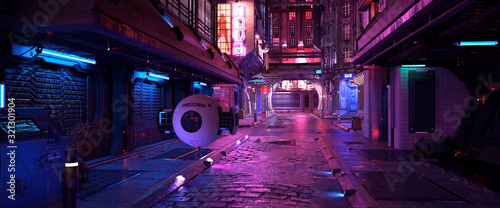 Bright neon night in a cyberpunk city. Photorealistic 3d illustration of the futuristic city. Empty street with blue neon lights. #321301904