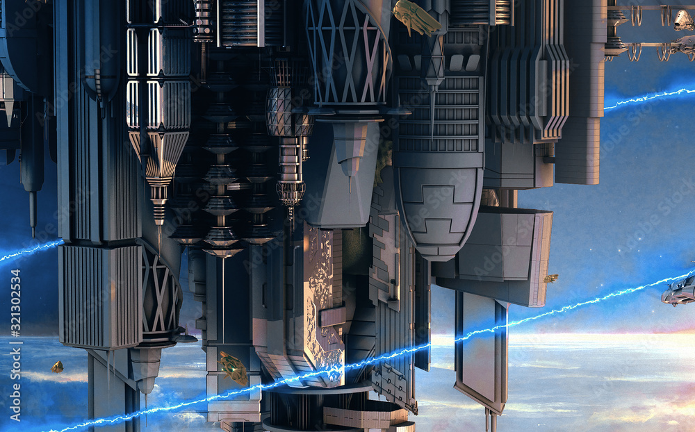 Details of a city of science fiction (Science-fiction city with giant skyscrapers and flying spaceships 3d)