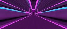 Futuristic Neon Corridor With Blue And Violet Lights. 3D Illustration. Wallpaper In A Cyberpunk Style. Retro Futuristic Scene In A Style Of 80's.