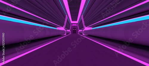 Fototapeta Futuristic neon corridor with blue and violet lights. 3D illustration. Wallpaper in a cyberpunk style. Retro futuristic scene in a style of 80's. obraz